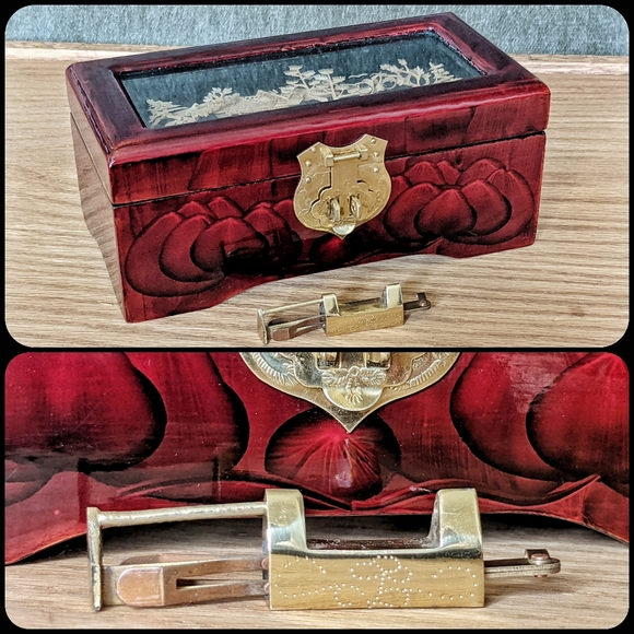 Vintage Eastern cork art lotus jewelry lock box